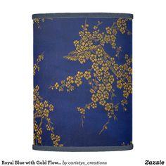 Custom Lamp Shades, Flower Lamp, Incandescent Light Bulb, Trim Color, Eclectic Decor, Gold Flowers, Rice Paper, Original Artwork, Create Your Own