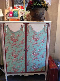 loving this Annie Sloan and toile fabric chifferobe!!