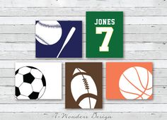 Sports Theme Wall Art Prints, for Boys, Toddlers & Teens Bedroom Art; Personalized with a Jersey Like Name & Number of Your Childs Choice &