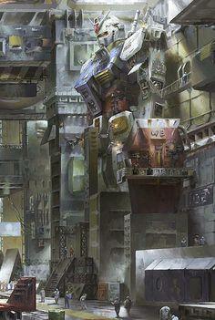 Gundam Fan-Art: RX-78-2 Gundam in Maintenance Bay     Image via wang景天