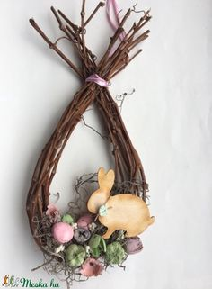 Vesszőtojás színesen (Fiorista) - Meska.hu Easter Projects, Easter Crafts, Spring Crafts, Holiday Crafts, Oster Dekor, Diy And Crafts, Crafts For Kids, Easter 2021, Wreath Crafts