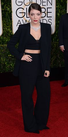 Golden Globes 2015: Red Carpet Arrivals - LORDE from #InStyle #2015goldenglobes #redcarpet