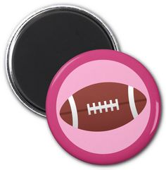 Football magnet for girls featuring a football on a pink background with a darker pink border. Locker magnet or fridge magnet