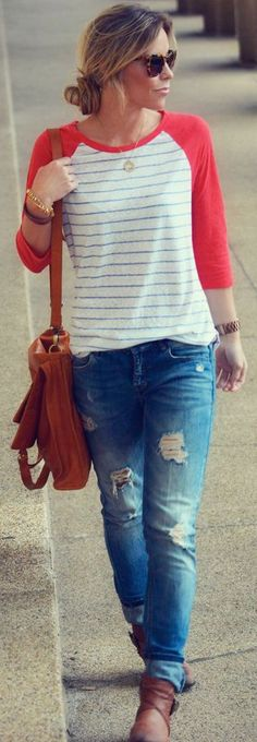 Outfit Posts: guest outfit post - sister week: baseball t-shirt, distressed boyfriend jeans, ankle boots