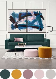 Painting: Acrylic on Canvas. Flowy feeling composition, splatters and lines create movement and depth. diptych, each panel total size Room Color Schemes, Room Colors, House Colors, Living Room Designs, Living Room Decor, Bedroom Decor, Bedroom Green, Home Interior Design, Colour Pop Interior