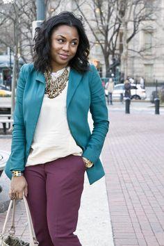 teal blazer / white top / burgundy or plum pants