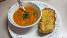 Senegalese Peanut Tofu Soup with a Guacamole Grilled Cheese
