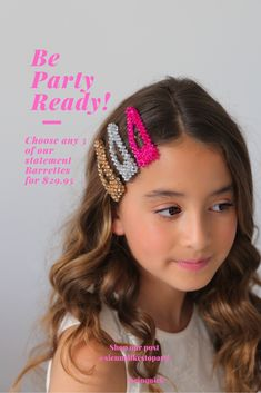 Sienna likes to Party ( Hair Barrettes, Hair Clips, Kids Girls, Girl Hairstyles, Hair Accessories, Colours, Pearls, Crystals, Shop