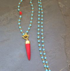 Long Blue Beaded Red Tusk Necklace Long Pendant by ViaLove on Etsy