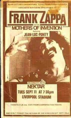 11.9.1973; frank zappa and the mothers of invention - nektar; gbr, liverpool, stadium; (db)