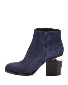 Alexander Wang Gabi Lift-Heel Suede Ankle Boot, Lake Navy