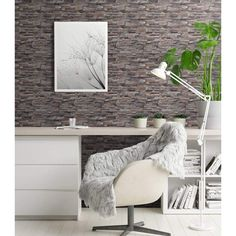 4 Piece Non-woven Wallpaper Rolls Dark Grey 0.53x10 m Brick