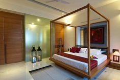 Wood canopy bed frame - One bedroom is a private haven that provides an environment of peaceful tranquility. Bed is focal point of any bedroom and style Asian Style Bedrooms, Asian Bedroom, Modern Bedroom, Natural Bedroom, Master Bedroom, Wood Canopy Bed, Canopy Bed Frame, Home Design, Interior Design