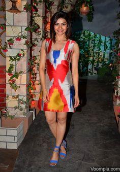 So pretty! Prachi Desai weaing an ikat style dress from Osman Studios with blue ankle strap Aldo heels. via Voompla.com