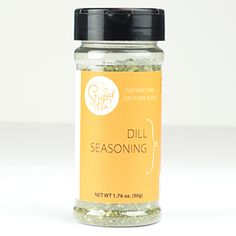 Product # 12004 Dill Seasoning This green tea mix makes it no-big-dill to add zing to dips, rubs and sauces. Ingredients: Onion flakes, dill, parsley, salt, garlic powder, spices. 1.76oz. (50g) Price: $9.00