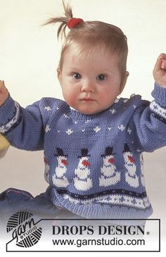 Fun with Frosty / DROPS Baby - DROPS jumper with snowman motif, socks and hat. Baby Knitting Patterns, Baby Cardigan Knitting Pattern, Jumper Patterns, Christmas Knitting Patterns, Knitting For Kids, Baby Patterns, Free Knitting, Drops Design, Kids Christmas Sweaters