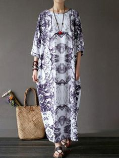 321f98eb07c98 Popjulia Plus Size Crew Neck Women Dress Cocoon Daytime Dress Casual Printed  Dress