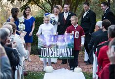 This Is What A Football-Themed Wedding Looks Like Football Wedding, Sports Wedding, Candid Wedding Photos, Wedding Pics, Wedding Stuff, Wedding Ideas, Wedding Things, Wedding Photography And Videography, Wedding Photography Inspiration