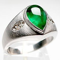 MENS NATURAL EMERALD & DIAMOND RING SOLID 14K WHITE GOLD