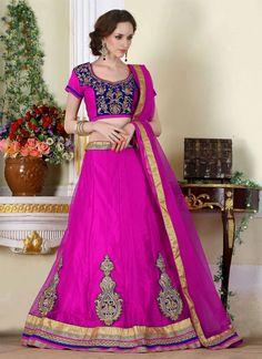 Adorning Net Hot Pink A Line Lehenga Choli   Whats Up No. +918238311448    http://www.ethnicnx.com/lehenga-choli/adorning-net-hot-pink-a-line-lehenga-choli-6940