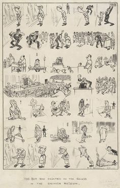 The Boy Who Breathed on the Glass at the British Museum  --  Punch cartoons by HM Bateman | PUNCH Magazine Cartoon Archive  - 1916