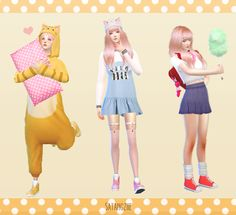 Cute style sets Please ♡♥♡ / Reblog If you like them ♡♡♡♡♡ ❀ Thanks for all CC Creator ^O^ ❀ Sims made by me CC Finds #5 [08/1/15] 【1】 ►Hair : DL ►Animal night wear : DL ►Pillow : DL ►Shoes...