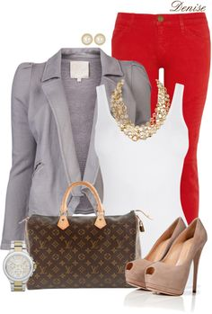 Red skinny jeans, white tank, gray blazer and nude shoes Cute Outfits With Jeans, Cute Jeans, Classy Outfits, Fall Outfits, Casual Outfits, Red Skinny Jeans, Red Jeans, Skinny Pants, I Love Fashion