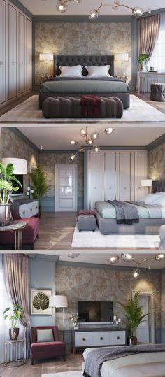 Спальня в классическом стиле - Галерея 3ddd.ru Small Apartment Interior, Apartment Design, Ikea Furniture Makeover, Interior Styling, Interior Design, Stylish Bedroom, Sims House, Luxurious Bedrooms, Small Rooms