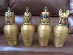 canopic jars by Haunt Forum member Hauntiholik Halloween Facts, Halloween Potions, Couple Halloween Costumes, Scary Halloween, Outdoor Halloween, Egyptian Crafts, Egyptian Party, Egyptian Mummies, Halloween Spider Decorations