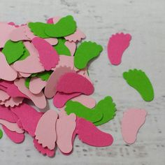 Green Pink Baby Feet Confetti  Watermelon Baby Shower by LucyBirdy