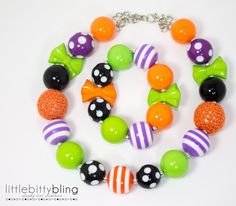 Halloween Chunky Bead Necklace Girls Chunky by littlebittybling, $21.00