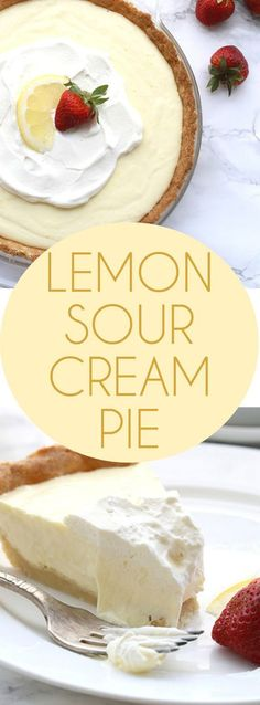 Low Carb Lemon Sour Cream Pie Dessert Recipe via All Day I Dream About Food - This low carb Lemon Sour Cream Pie has a grain-free crust and a creamy keto filling. It's a perfect healthy summertime dessert. THM, Banting, Atkins - Favorite EASY Pies Recipes - Brunch Dessert No-Bake + Bake Musts