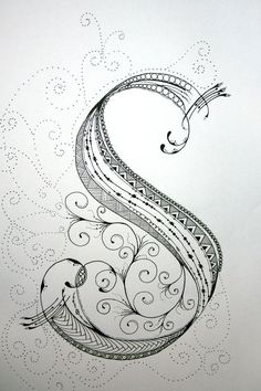 """ZenTangle Alphabet Drawing on Bright White Drawing Paper with """"Micron"""" Ink and """"Gelly Roll"""" Gel Pens.. $19.99, via Etsy."""