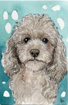 Poodle Drawing, Baby Animal Drawings, Dog Coloring Page, Poodle Mix, Fox Art, Dog Paintings, Cute Cartoon Wallpapers, Dog Portraits, Whimsical Art