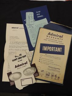 1952 Admiral Refrigerator Dual Temp Instruction Manual Letter Card Warranty 4 Pc #Admiral