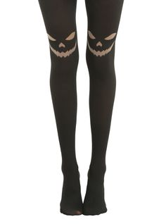Blackheart Jack-O-Lantern Face Black Tights, BLACK