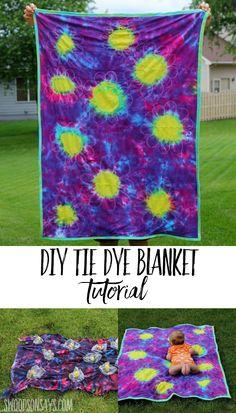 Tie dye tshirt upcycled blanket throw