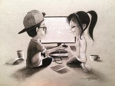 Would you be my player 2? #gamer #kurtchangart #art #girl #boy #gamergirl #gamerboy #gamesystem #cute #relationshipgoals #relationship #Art #illustration #drawing #sketch #blackandwhite #lighting #charcoal #charcoaldrawing #love #smile #date #artistsoninstagram #artist #instaart