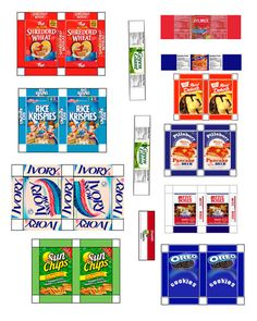 "FREE PRINTABLE DOLLHOUSE SIZE GROCERY PRODUCTS: to download and print - dozens of pages organized by category. If you want them smaller (or larger), change size in your print menu (eg, ""print at 80%"")"