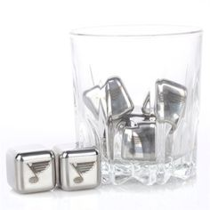 St. Louis Blues Steel Cube Set of 6- Ice belongs in the rink, don't water down your drink!