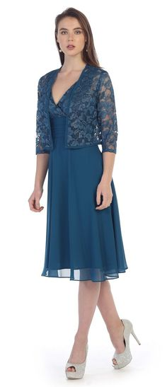 This short A line modest knee length teal dress is perfect for mother of the bride or another formal occasion. This lace with pebble GGT dress has wide sleeveless tank straps, an empire waistline and Lace Jacket, Bolero Jacket, Lace Bolero, Evening Dresses, Prom Dresses, Nova Dresses, Plus Size Formal Dresses, Dress Formal, Formal Wear