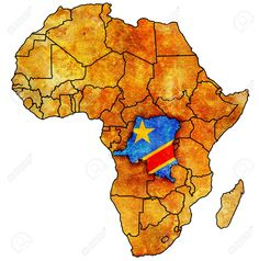 Picture of democratic republic of congo on actual vintage political map of africa with flags stock photo, images and stock photography. Liberia Africa, Africa Art, Sierra Leone, Congo, Travel Posters, Watercolor Paper, Find Art, Framed Artwork, Vivid Colors