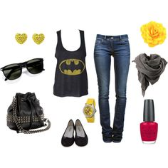 Batman!, created by jean408 on Polyvore- now i just need a look for the new Spiderman and The Avengers movies :-)
