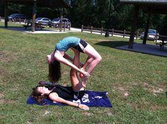 Two person acro stunts