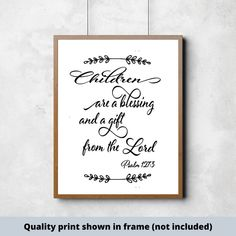 Children are a blessing and a gift from the Lord Children sign, farmhouse style, new baby gift, nursery decor, bible verse Bible Verse Signs, Bible Verses, Gifts For New Parents, New Baby Gifts, Painting On Pallet Wood, Prayer Signs, Make Your Own Sign, Established Family Signs, Christian Signs