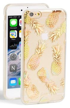 gold pineapple transparent phoen case for iphone
