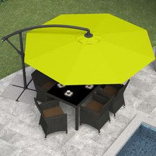 Offset Patio Umbrella, Sand Gray Features: -Height and angle adjustable. -Secure base with base weights or patio stones (not included). Generic Dimensions: Offset umbrella made from durable polyester. Patio Umbrella Stand, Offset Patio Umbrella, Cantilever Umbrella, Market Umbrella, Patio Umbrellas, Outdoor Tables, Patio Table, A Table, Outdoor Decor