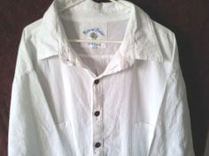 NATURAL ISSUE Men's White Soft Washed Cotton Camp Shirt Causal Size XXXL 3XL