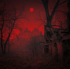 Dark Fantasy, Fantasy Art, Blood Moon Eclipse, Red Aesthetic Grunge, Real Haunted Houses, Red Sunset, Dark Pictures, Rainbow Aesthetic, Fantasy Places