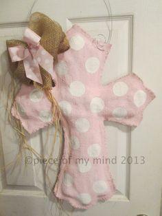 Cross with Baby Burlap Door Hanger in Pink Ribbon Baby Girl